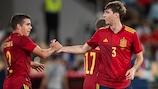 Spain celebrate their last winner against Slovakia