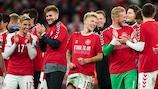 Denmark celebrate reaching the finals