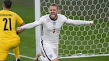 England's Luke Shaw opens the scoring against Italy in the final