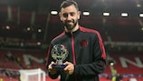Bruno Fernandes with his Player of the Match trophy on Matchday 3